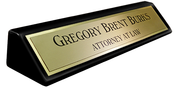 Black Piano Finish Desk Plate -  Brushed Gold Metal Name Plate with a Shiny Gold Border