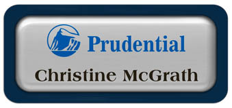 Metal Name Tag: Shiny Silver Metal Name Tag with a Marine Blue Plastic Border and Epoxy