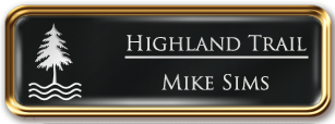 Framed Name Tag: Rose Gold Metal (rounded corners) - Black and White Plastic Insert with Epoxy