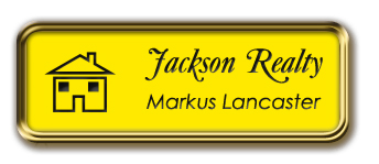 Gold Metal Framed Nametag with Canary Yellow and Black
