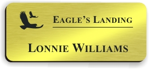Smooth Plastic Name Tag: Shiny Gold with Black - LM922-734