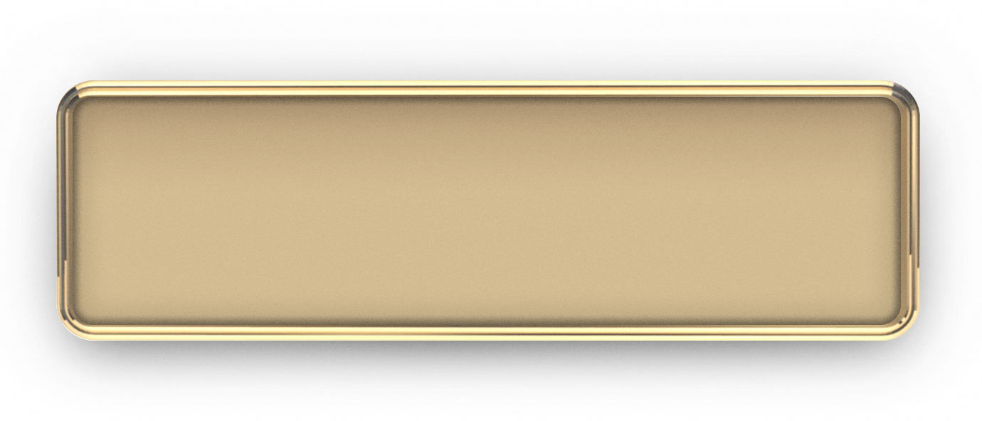 Gold Metal Framed Nametag with a Multi Colored Logo/Text