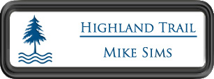 Framed Name Tag: Black Plastic (rounded corners) - White and Sky Blue Plastic Insert