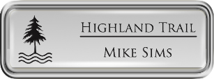 Framed Name Tag: Silver Plastic (rounded corners) - Shiny Silver and Black Plastic Insert with Epoxy
