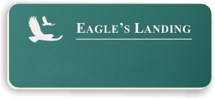 Blank Smooth Plastic Name Tag with Logo: Celadon Green and White - LM922-972