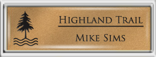 Framed Name Tag: Silver Plastic (squared corners) - Smooth Gold and Black Plastic Insert with Epoxy