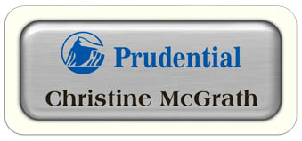 Metal Name Tag: Brushed Silver Metal Name Tag with a White Plastic Border and Epoxy