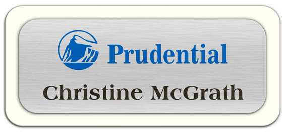 Metal Name Tag: Brushed Silver Metal Name Tag with a White Plastic Border