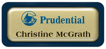 Metal Name Tag: Brushed Gold Metal Name Tag with a Marine Blue Plastic Border and Epoxy