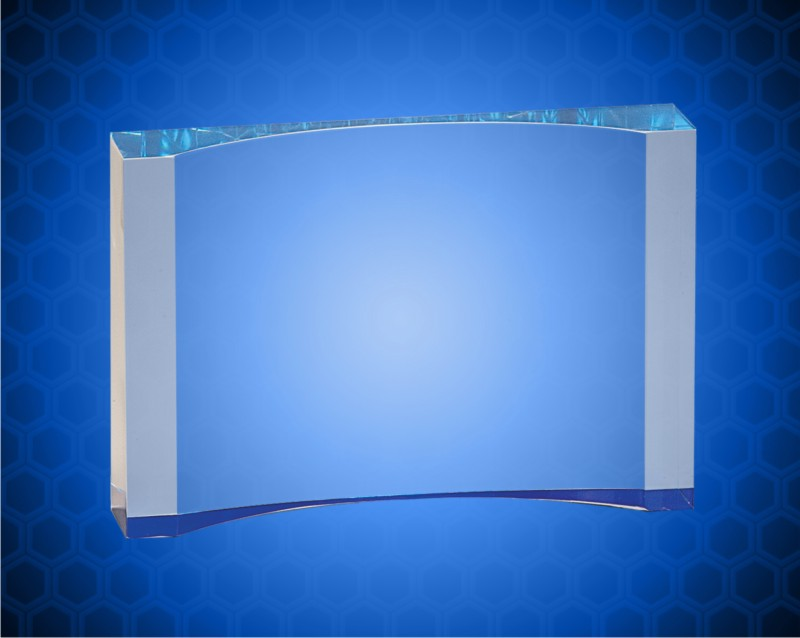 5 1/2 x 8 Inch Blue 1 Inch Thick Acrylic Crescent