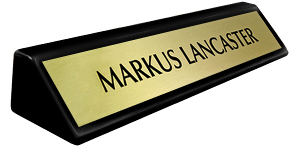 Brushed Gold Metal Plate on a Black Piano Finish Deskplate