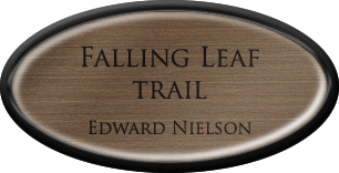 Framed Name Tag: Black Plastic (Oval) - Deep Bronze and Black Plastic Insert with Epoxy