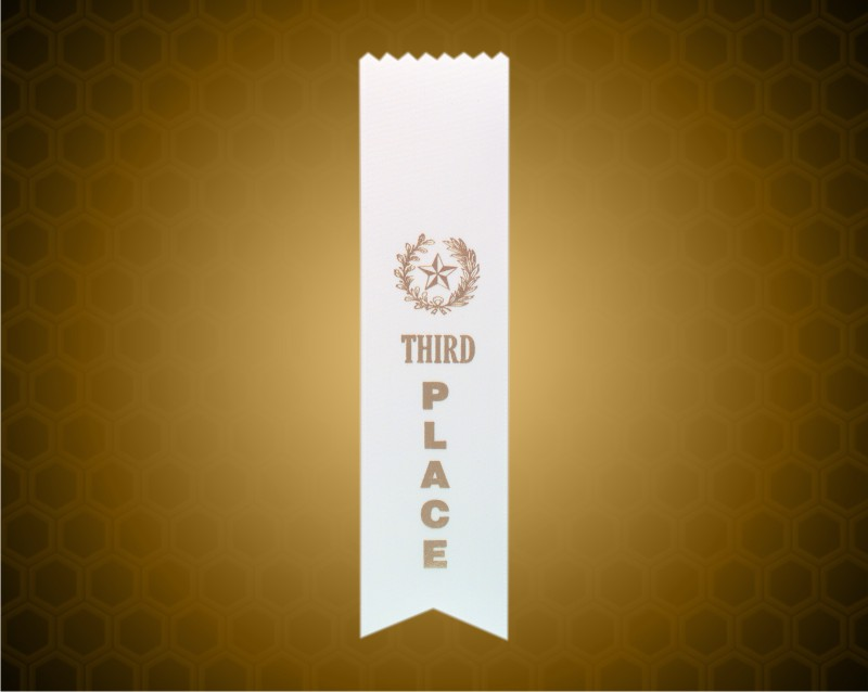 White 3rd Place Pinked Top Ribbon