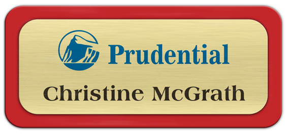 Metal Name Tag: Brushed Gold Metal Name Tag with a Red Plastic Border