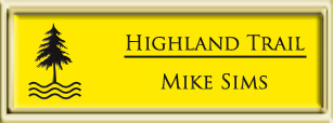 Framed Name Tag: Gold Plastic (squared corners) - Canary Yellow and Black Plastic Insert