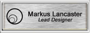 Framed Name Tag: Silver Plastic (squared corners) - Brushed Aluminum and Black Plastic Insert with Epoxy