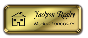 Gold Metal Framed Nametag with Shiny Gold and Black