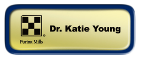 Shiny Gold Nametag with a Blue Metal Border