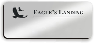 Blank Smooth Plastic Name Tag with Logo: Shiny Silver and Black - LM922-334