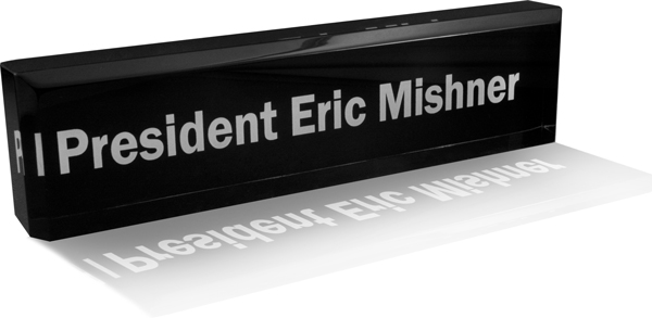 Acrylic Desk Plate with Black Background