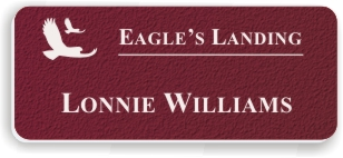 Textured Plastic Nametag: Ruby with White - 822-622