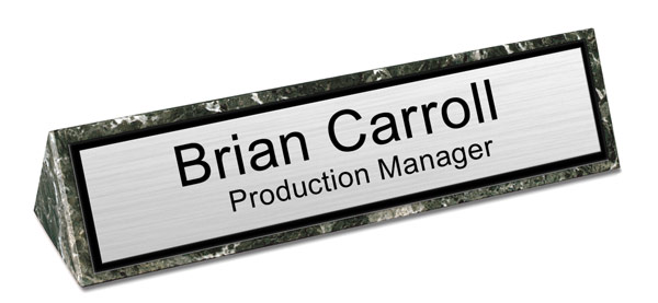 Green Marble Triangle Desk Name Plate - Brushed Silver Name Plate with a Black Border