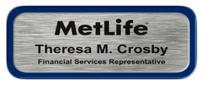 Metal Name Tag: Brushed Silver with Blue Metal Border