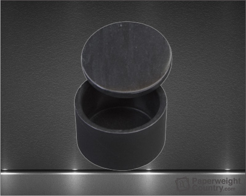 2 x 3 Inch Jet Black Marble Round Box with Removable Lid