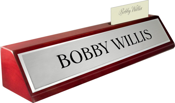 Rosewood Piano Finish Deskplate - Brushed Silver Metal Name Plate with a Shiny Silver Border, Card Slot