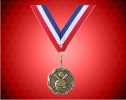 Gold Baseball Medal w/ Red, White, and Blue Ribbon