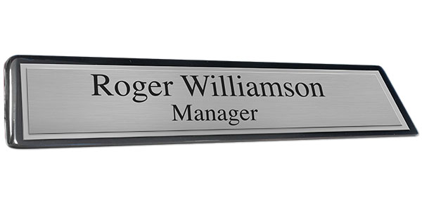 Black Piano Finish Desk Plate with Brushed Silver Plate and Shiny Silver Border