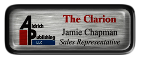 Metal Name Tag: Brushed Silver with Epoxy and Black Metal Border