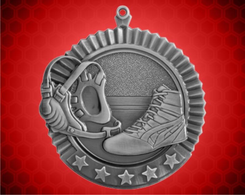 2 3/4 inch Silver Wrestling Star Medal