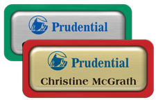 Metal Name Tags with Epoxy and Plastic Borders