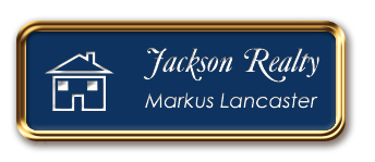 Rose Gold Metal Framed Nametag with Patriot Blue and White