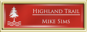 Framed Name Tag: Gold Plastic (squared corners) - Crimson and White Plastic Insert with Epoxy