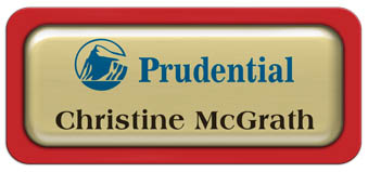 Metal Name Tag: Shiny Gold Metal Name Tag with a Red Plastic Border and Epoxy
