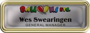 Rounded Corner Gold Plastic Framed Epoxy Nametag with Shiny Silver
