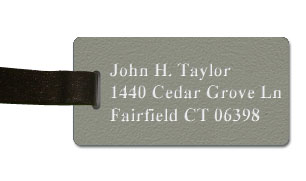 Textured Plastic Luggage Tag: Ash Grey with White - 822-302