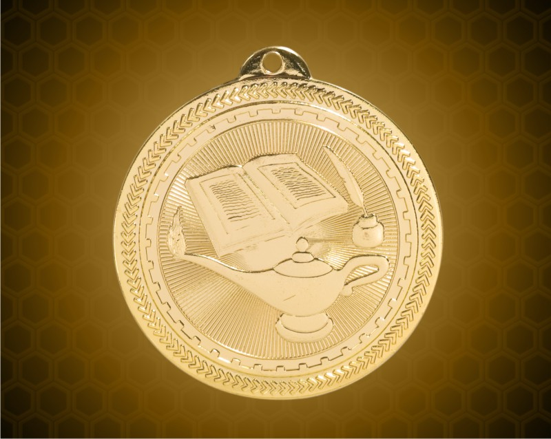 2 inch Gold Lamp of Knowledge Laserable BriteLazer Medal