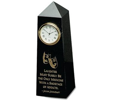 6 x 2 x 2 Inch Jet Black Obelisk Clock Paperweight