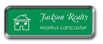Silver Metal Framed Nametag with Kelley Green and White