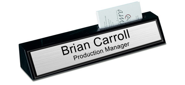 Black Marble Desk Name Plate with Card Holder - Brushed Silver with Black Border