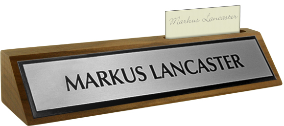 Brushed Silver Metal Plate, Black Border on a Walnut Deskplate with Card Slot