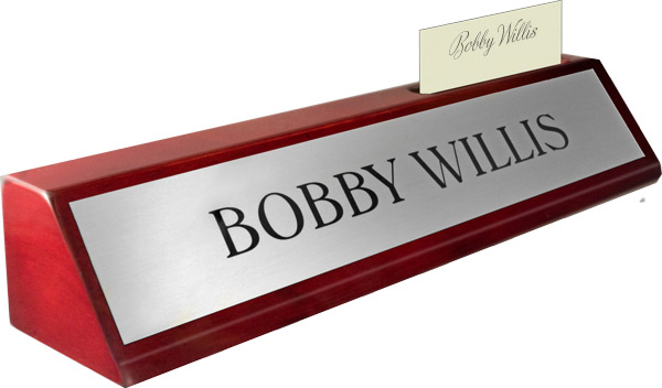 Rosewood Piano Finish Deskplate - Brushed Silver Metal Name Plate, Card Slot