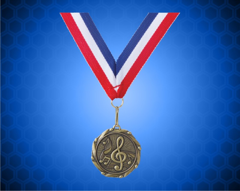Gold Music Medal with a 7/8 x 32 inch Red, White, and Blue Ribbon