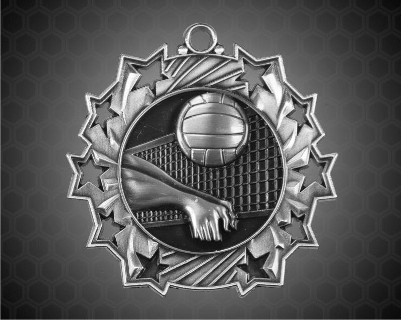 2 1/4 Inch Silver Volleyball Ten Star Medals