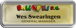 Silver Plastic Framed Epoxy Nametag with Shiny Gold