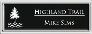 Framed Name Tag: Silver Plastic (squared corners) - Black and White Plastic Insert