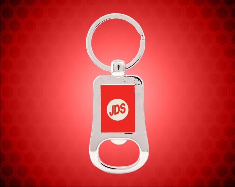 "2 1/8"" Silver/Red Laserable Bottle Opener Keychain"